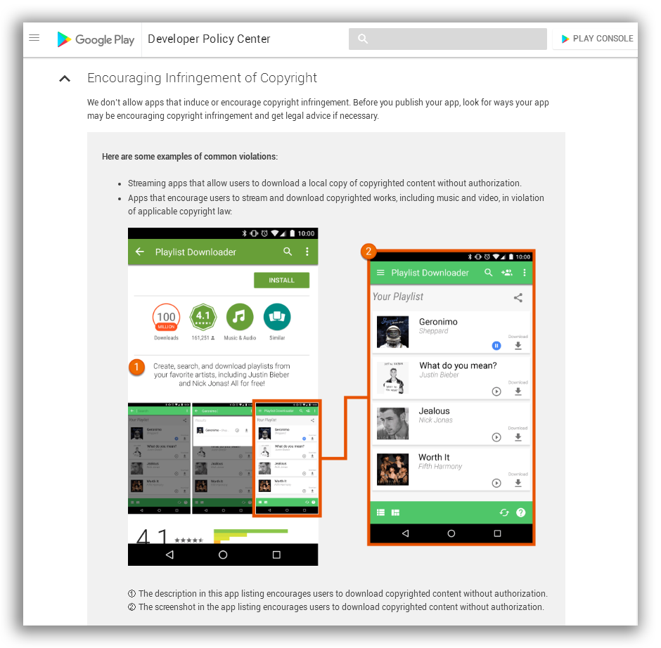 Google Play Policy forbiden encouraging infringement of copyright