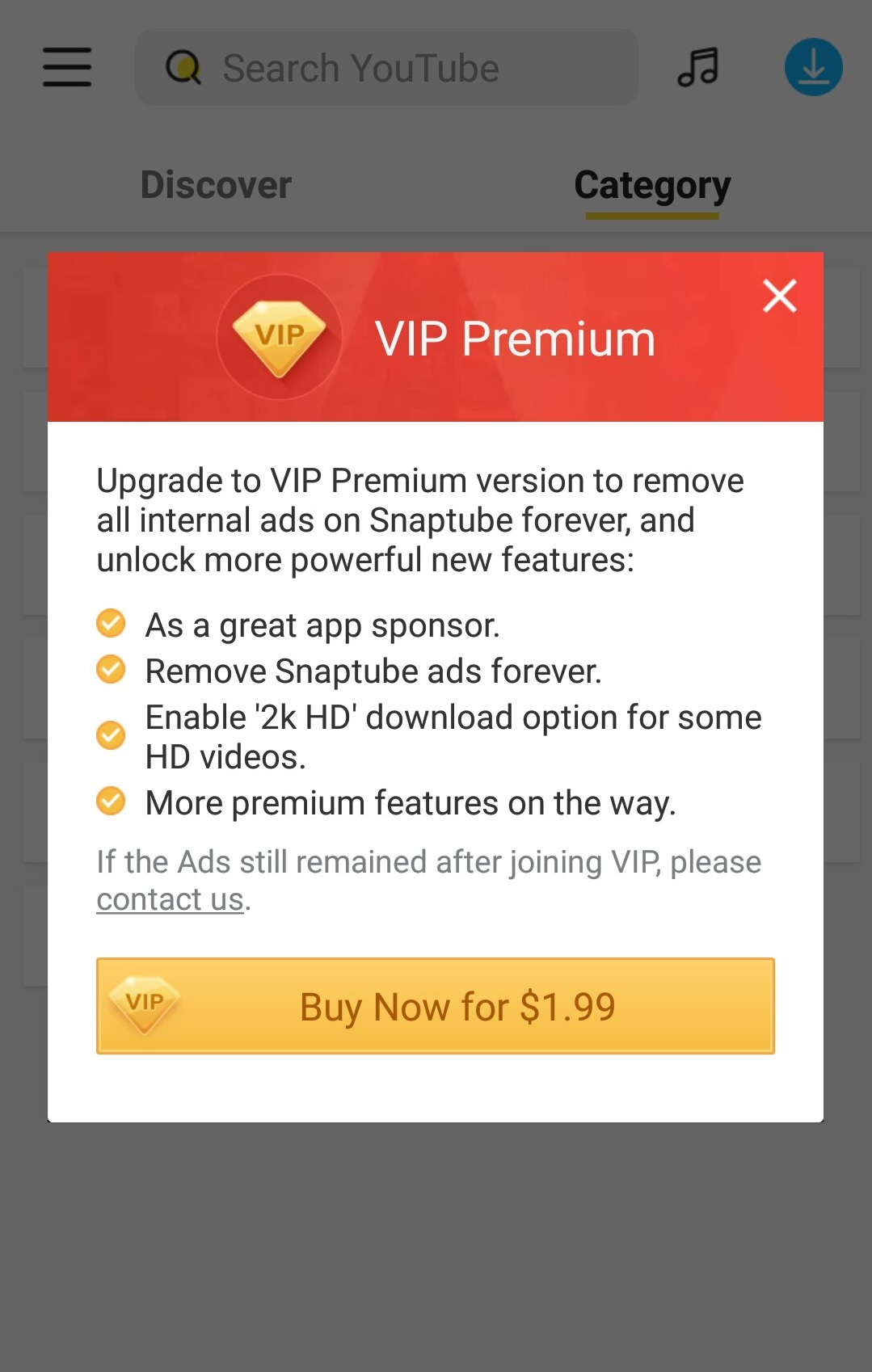 remove ads forever after paying $1.99