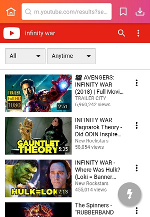 use keyword or movie's name to find video in YouTube