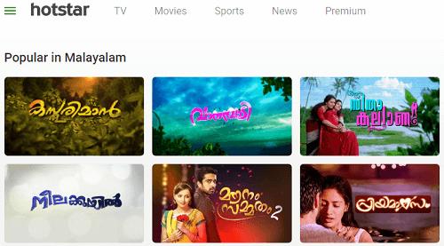 popular Malayalam movies on Hotstar