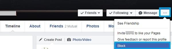 How to block facebook friend