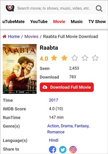 Raabta full movie download HD uTubeMate