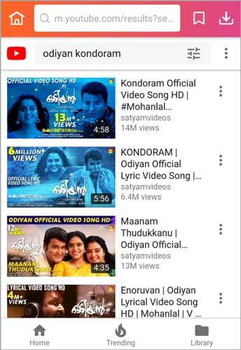 step 1 search for Odiyan songs Kondoram