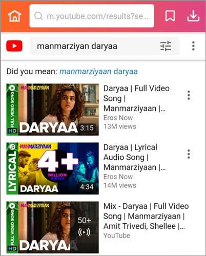 step 1 search for Manmarziyan songs Daryaa